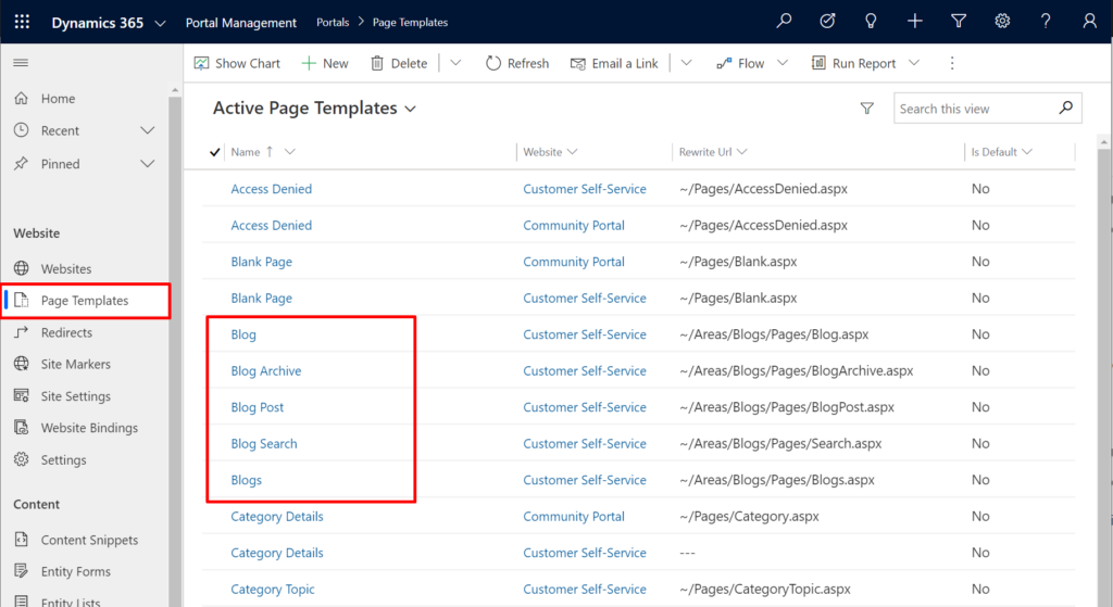Look for page templates related to blog feature
