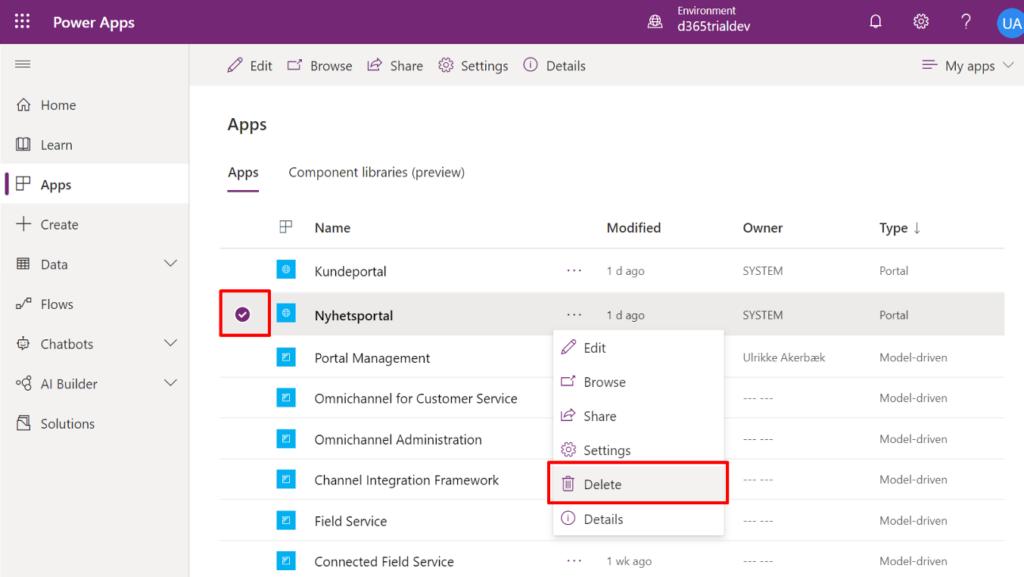 Delete Community Portal App no longer needed