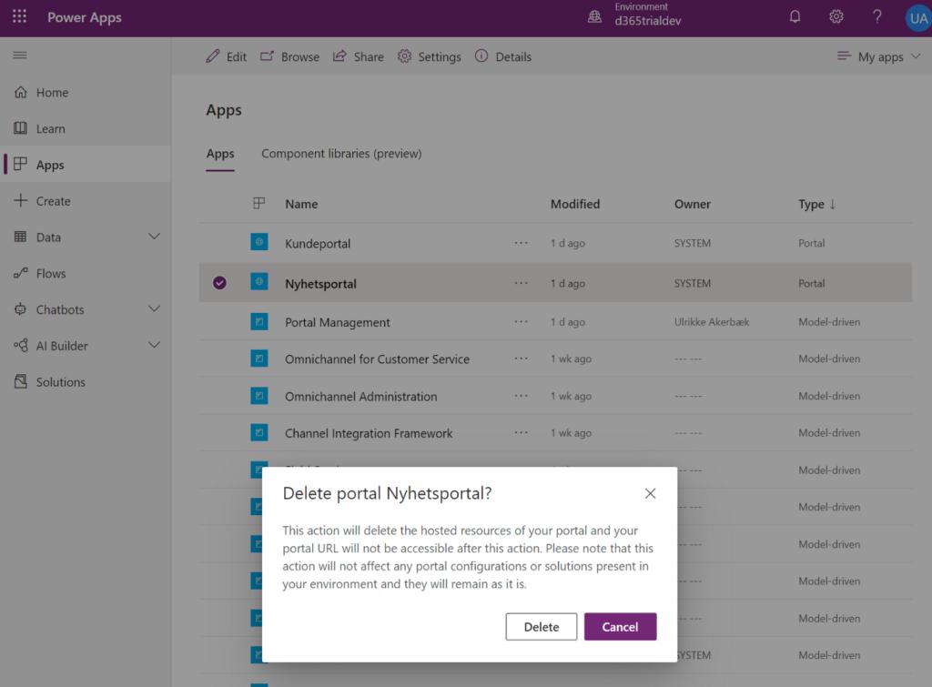 Confirm Delete Community Portal App no longer needed