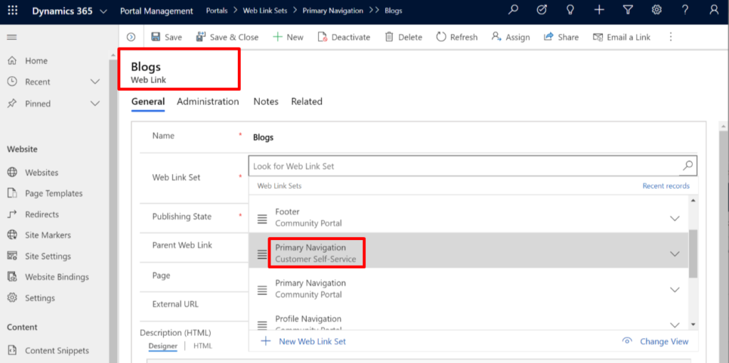 Combine portal types: Update primary navigation in web link sets